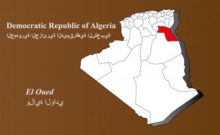 Algeria map in 3D on brown background  El Oued highlighted  Ilustração
