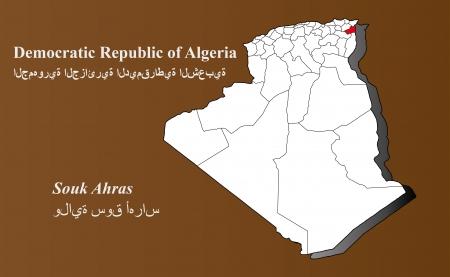 Algerien Karte in 3D auf braunem Hintergrund Souk Ahras hervorgehoben