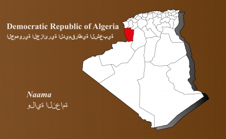 Algeria map in 3D on brown background  Naama highlighted