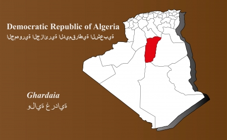 Algeria map in 3D on brown background  Ghardaia highlighted  Ilustração