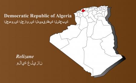 Algeria map in 3D on brown background  Relizane highlighted  Ilustração