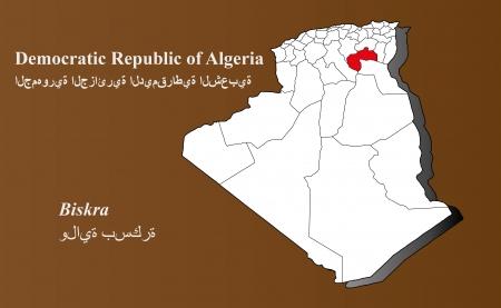 Algeria map in 3D on brown background  Biskra highlighted
