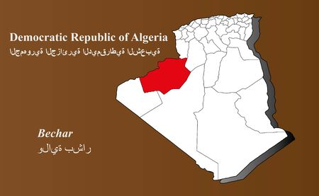 Algeria map in 3D on brown background  Bechar highlighted