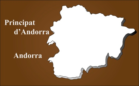 Andorra map in 3D on brown background