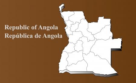 Angola map in 3D on brown background  Ilustração