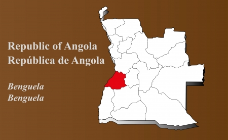 Angola map in 3D on brown background  Benguela highlighted