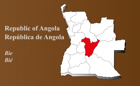 Angola map in 3D on brown background  Bie highlighted