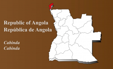 zaire: Angola map in 3D on brown background  Cabinda highlighted