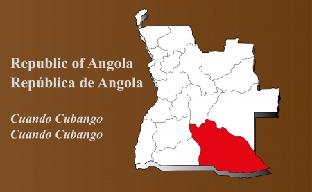 zaire: Angola map in 3D on brown background  Cuando Cubango highlighted  Illustration