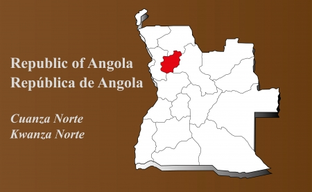 zaire: Angola map in 3D on brown background  Kwanza Norte highlighted  Illustration