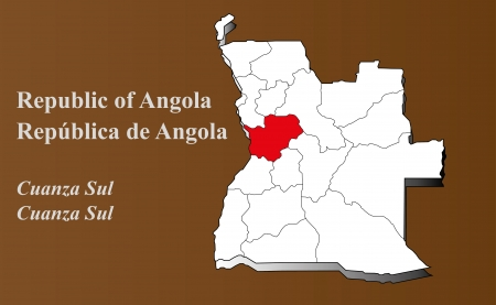 Angola map in 3D on brown background  Cuanza Sul highlighted