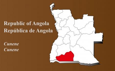 Angola map in 3D on brown background  Cunene highlighted  Ilustração