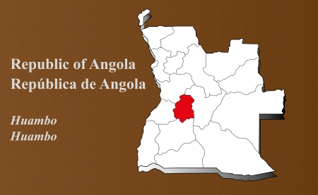 Angola map in 3D on brown background  Huambo highlighted  Ilustração