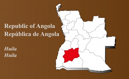 Angola map in 3D on brown background  Huila highlighted