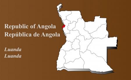 Angola map in 3D on brown background  Luanda highlighted  Ilustração