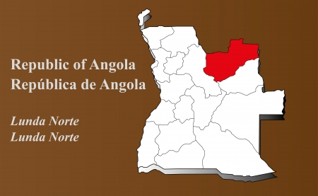 zaire: Angola map in 3D on brown background  Lunda Norte highlighted