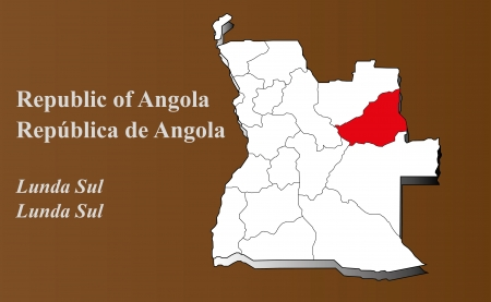 zaire: Angola map in 3D on brown background  Lunda Sul highlighted