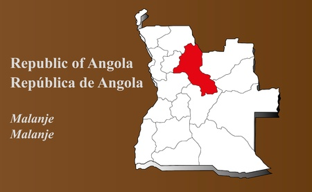 Angola map in 3D on brown background  Malanje highlighted