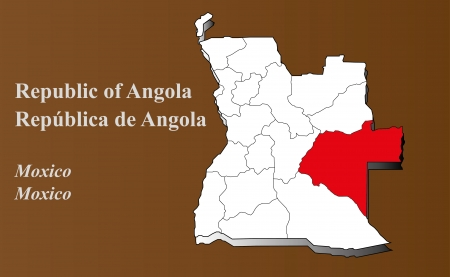 geographically: Angola map in 3D on brown background  Moxico highlighted