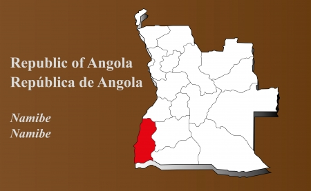 zaire: Angola map in 3D on brown background  Namibe highlighted  Illustration
