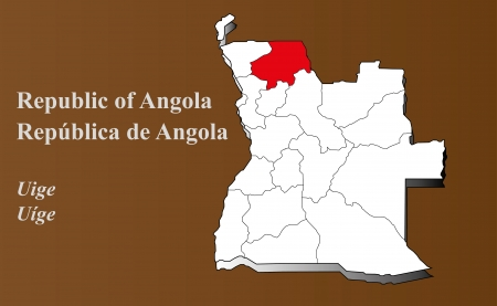 Angola map in 3D on brown background  Uige highlighted