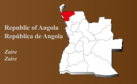 Angola map in 3D on brown background  Zaire highlighted  Ilustração