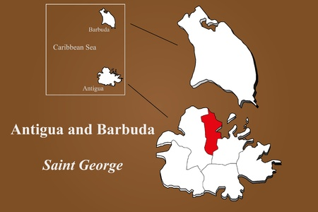 barbuda: Antigua and Barbuda map in 3D on brown background  Saint George highlighted