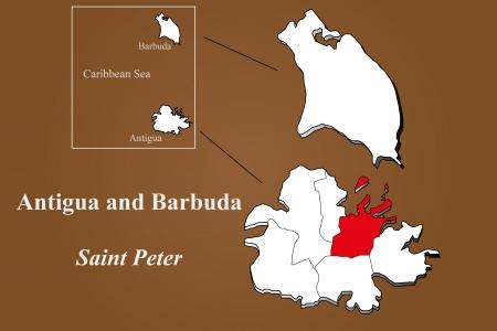 Antigua and Barbuda map in 3D on brown background  Saint Peter highlighted  Ilustração