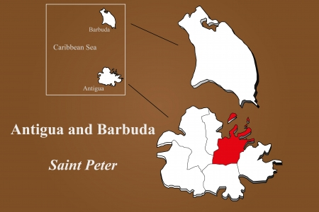 antigua: Antigua and Barbuda map in 3D on brown background  Saint Peter highlighted  Illustration