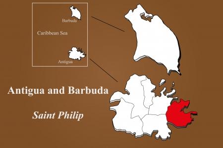 Antigua and Barbuda map in 3D on brown background  Saint Philip highlighted  Ilustração