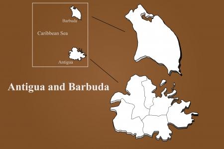 Antigua and Barbuda map in 3D on brown background  Ilustração