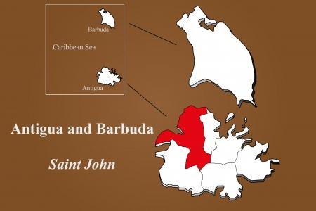 Antigua and Barbuda map in 3D on brown background  Saint John highlighted  Ilustração