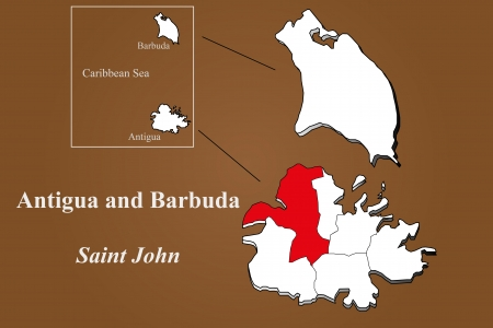 geographically: Antigua and Barbuda map in 3D on brown background  Saint John highlighted  Illustration