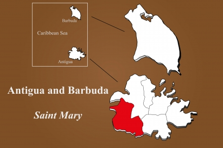 barbuda: Antigua and Barbuda map in 3D on brown background  Saint Mary highlighted  Illustration