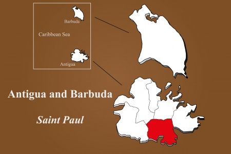 Antigua and Barbuda map in 3D on brown background  Saint Paul highlighted