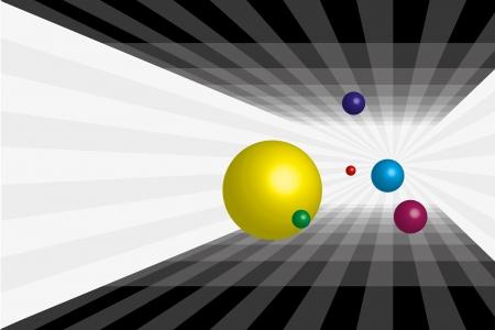 Different balls who fall into the abyss  Ilustração
