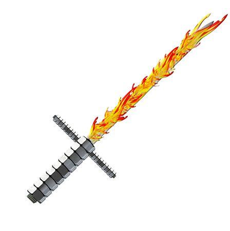 fantasy sword: medieval fantasy sword withflames Stock Photo