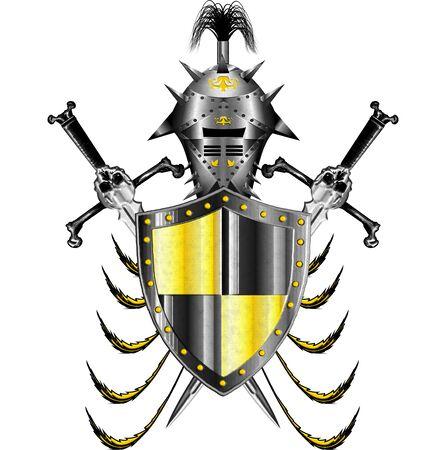 standard steel: medieval heraldic theme with swords helmet and shield