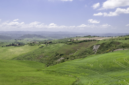 Panoramic view over tuscany close to Volterra in Tuscany photo