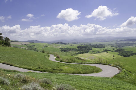 On the road to Volterra on a sunny day in spring photo