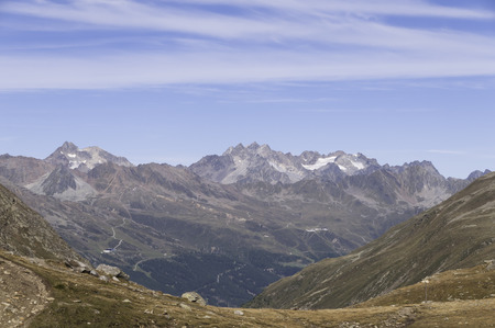 reclusion: view to the north from beautiful Timmelsjoch at a sunny summer day