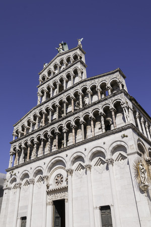 or san michele: Front side of the cupola San Michele in Lucca, Tuscany Stock Photo