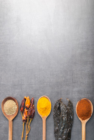 different herbs on a stone background Stock Photo