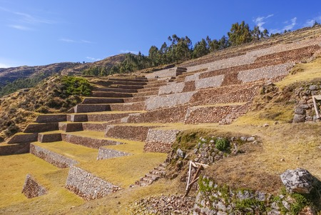 View on the terraces of the Chinchero archeological site near the city of Cuzco Peru
