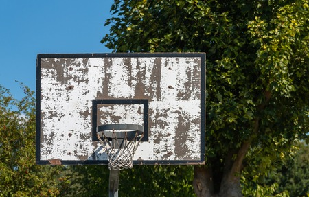 old basketball ring outside Stock Photo