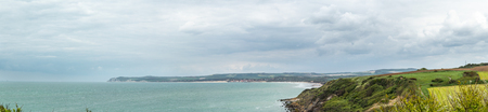 View from cap gris nez on cap blanc nez in France on a cloudy day