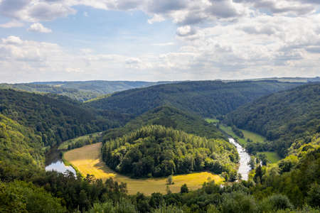 Old forest in the Belgian Ardennes, with a view of Tombeau du geant in the region of Bouillon during summer time. Banque d'images