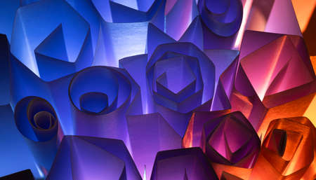 Colorful background of light on rectangular and round shapes. Banque d'images