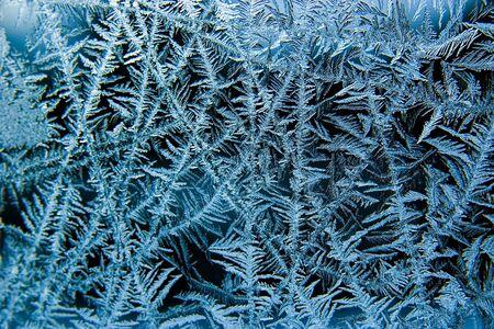 Closeup of ice on a window