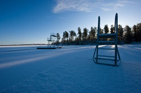 A place for bathing in the summer, now snowy and cold.
